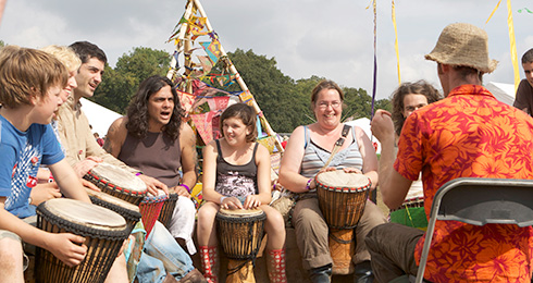 drumming circle at a festival