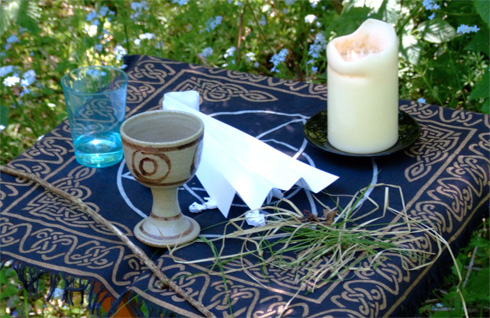 communion elements outside in a forest