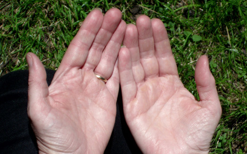 hands in prayer and listening exercise, palms upwards